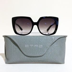 Etro Black & Gold Paisley Sunglasses w/ Case